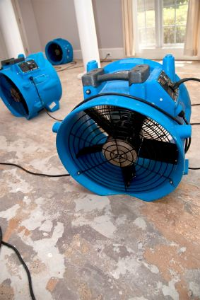 Steam Master Carpet & Upholstery Cleaning Inc's drying fans in water damaged house.